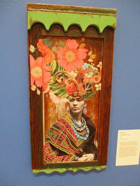 Frida with Flower Crown, by artist Betsy Gorman, 2018. Mixed media collages.