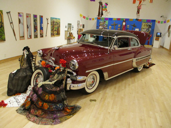 1954 Chevy Belair. Trunk altar honors family from Uruapan, Michoacan, and Mexico City, Mexico. Manuel Navarro Sr.