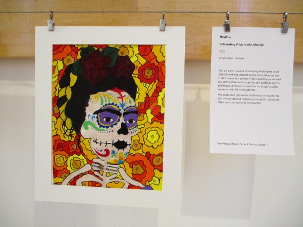 Celebrating Frida in the Afterlife, by Hayle V., San Pasqual Union School District Grade 7, 2020. Acrylic paint, markers.