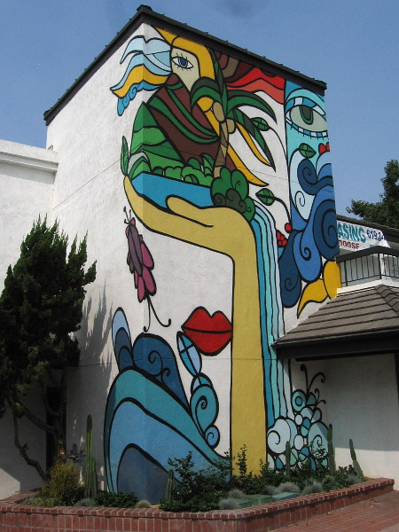 A large colorful mural at the Third and F office and retail complex.