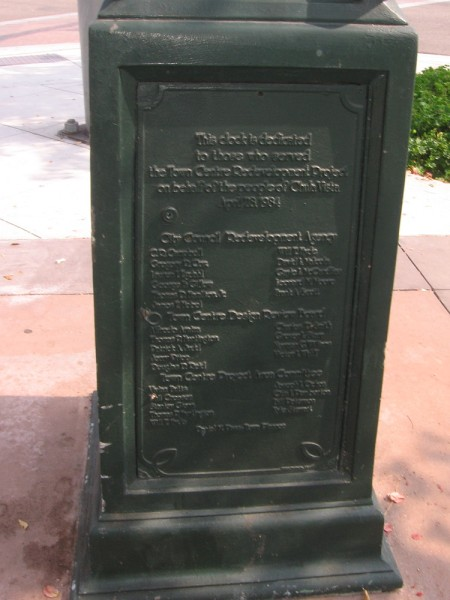 The street clock was dedicated on April 28, 1984.