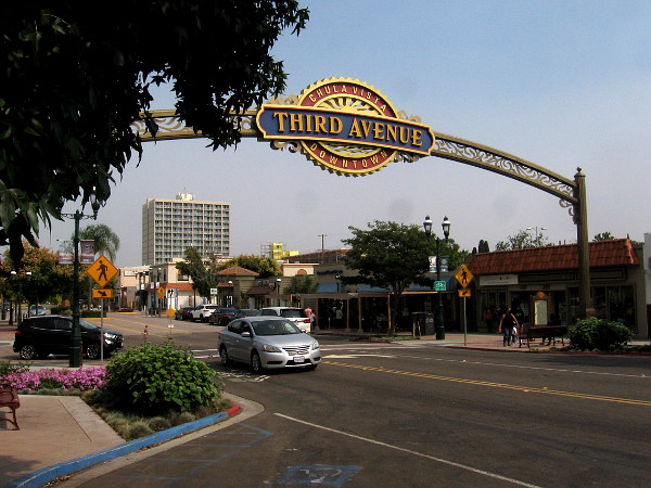 The arching Third Avenue landmark sign welcomes visitors to Chula Vista's historic downtown.