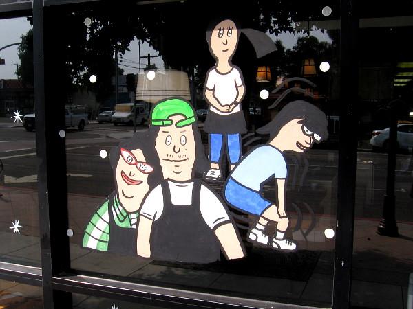 Fun graphic in the window of Teriyaki Grill.