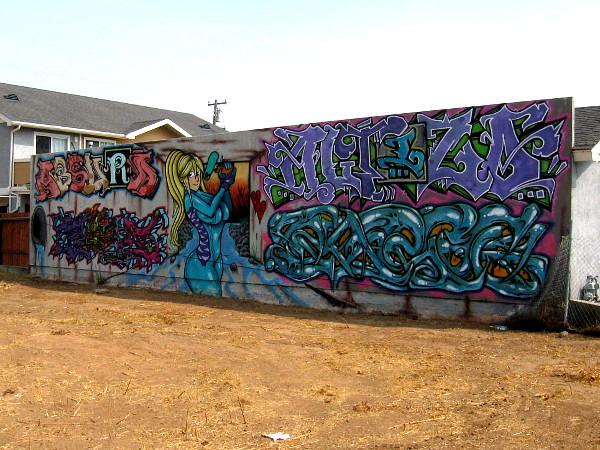 I spotted this graffiti wall a block east of Third Avenue at Alvarado Street.