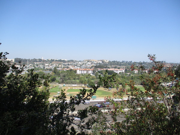 Looking north into Mission Valley. Beyond lanes of Interstate 8, I see a baseball diamond used by the Presidio Little League.