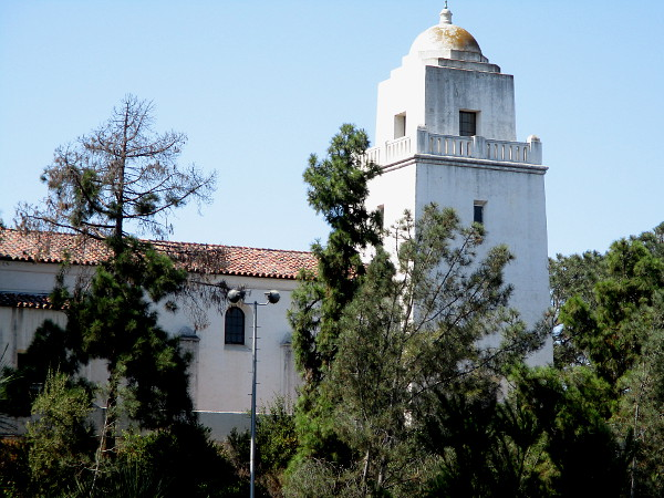 My camera zooms west. Another look at the Mission Revival-style Junipero Serra Museum, a well known San Diego landmark high atop Presidio Hill.
