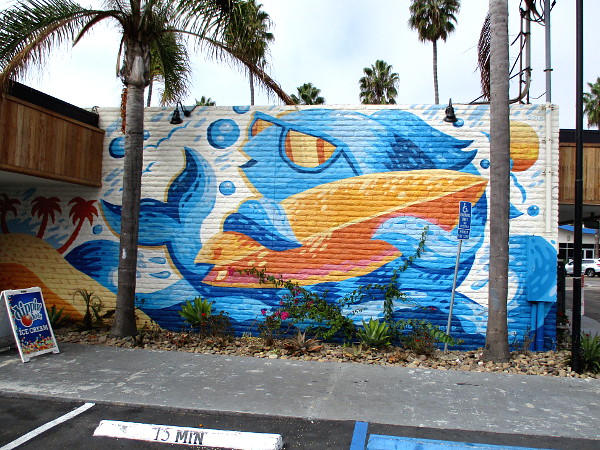 Cool mural in Oceanside at Bubbles by the Beach by Nicholas Danger.