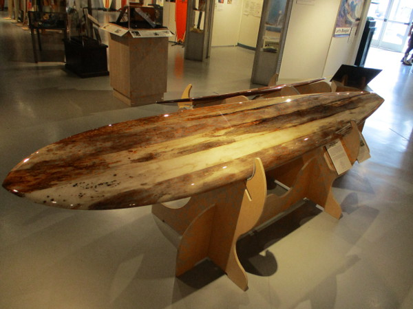 A gun surfboard made of layered agave wood, created by local surfing and shaping legend Gary Linden.