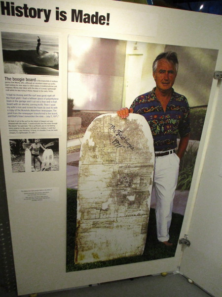 Another exhibit celebrates the boogie board, invented by Tom Morey in 1971, and explores its history.