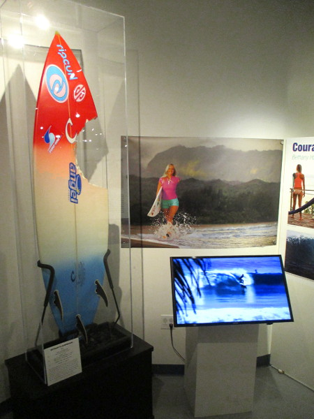 A special, inspirational exhibit celebrates Bethany Hamilton, champion surfer who lost her arm in a shark attack.