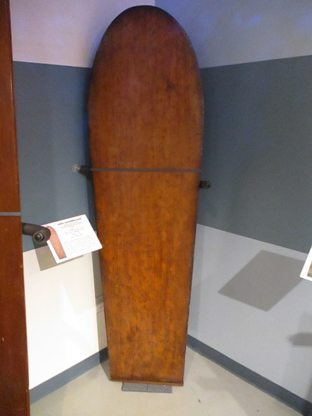Circa 1910 early California alaia made of Sugar Pine, built by Ralph Noisat. One of the oldest documented boards in the mainland United States.
