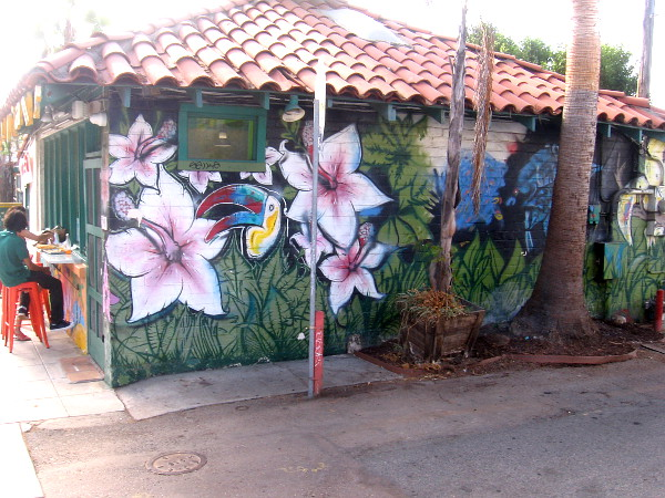 Mural painted at Johnny Mananas on Mission Avenue features tropical flowers and birds.