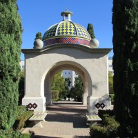 The gazebos of Balboa Park's hidden garden.