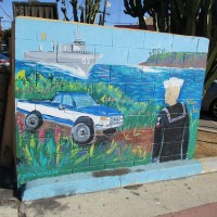 Sailor street art near Naval Base San Diego.