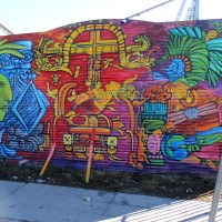 Colorful mural full of Aztec imagery!