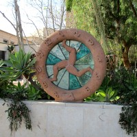 Wheel sculptures at Old Town's Caltrans building.