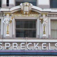 Dramatic faces outside the Spreckels Theatre!