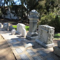 Gravestones at Pioneer Park in Mission Hills.