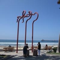 Wavy, twisted metal poles spell ART!