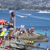 Bayfair racing action viewed from a bridge!